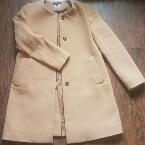 Collarless wool winter coat